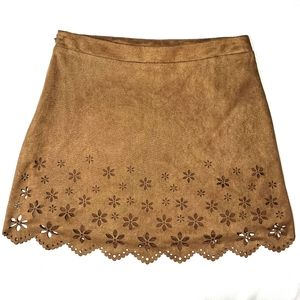 Forever 21 tan mini skirt with floral cutouts